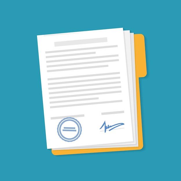 Document icon on the folder. Premium Vector