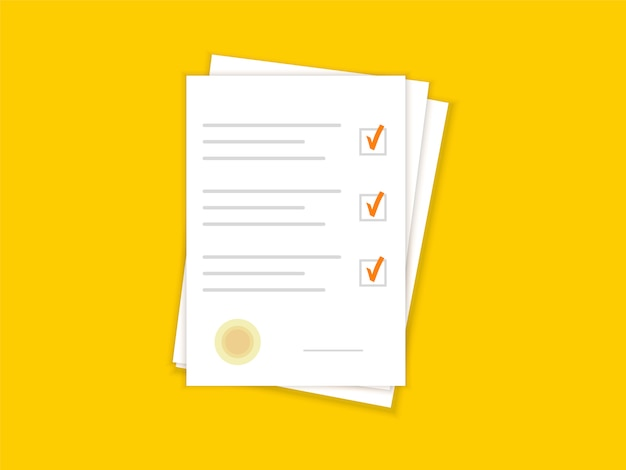 Document papers. agreement and contract with stamp. checklist. flat design. Premium Vector