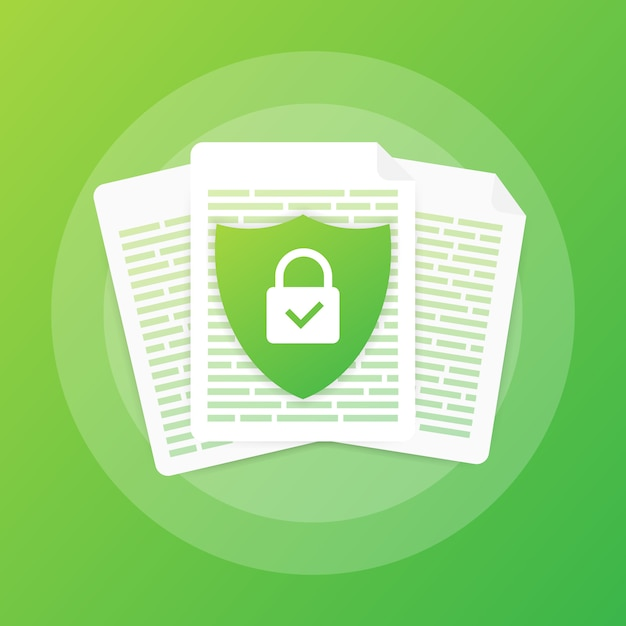 Document protection concept, confidential information and privacy. secure data with paper doc roll and guard shield Premium Vector