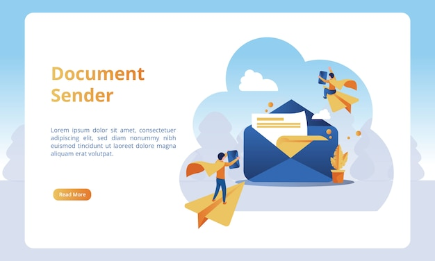 Of document sender for business landing pages Premium Vector