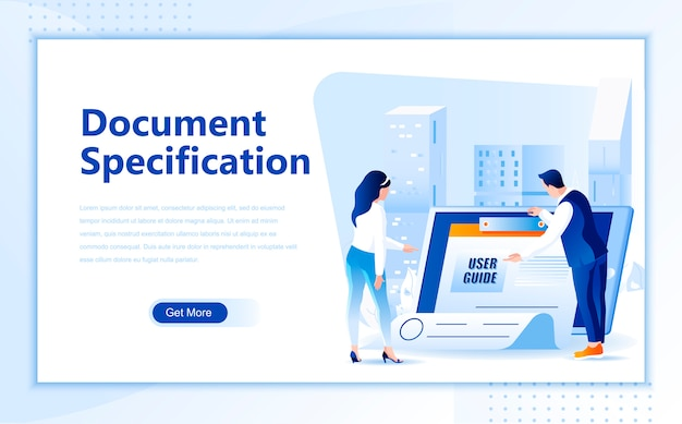 Document specification flat landing page template of homepage Premium Vector