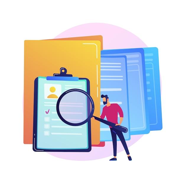 Красочный значок управления документацией. женский мультипликационный персонаж кладет документ в большую желтую папку. хранение, сортировка, организация файлов Бесплатные векторы