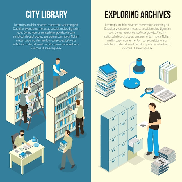 Documents archive library isometric banners Free Vector
