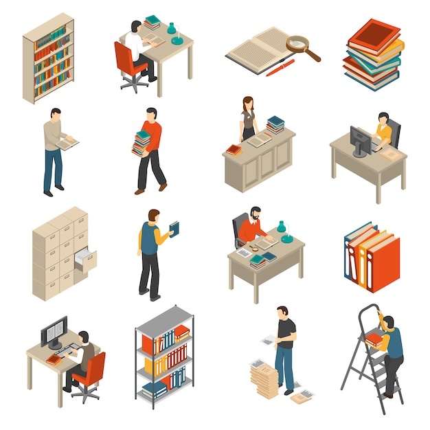 Documents archive library isometric icons set Free Vector