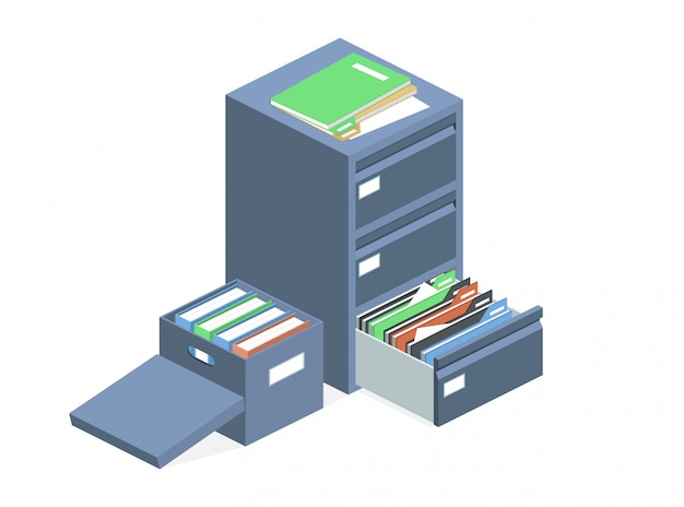 Documents cabinet files archive storage box Free Vector