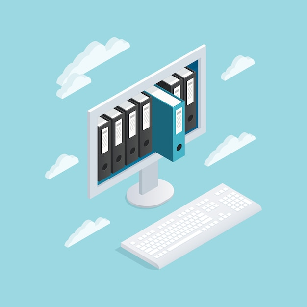 Documents cloud isometric composition Free Vector
