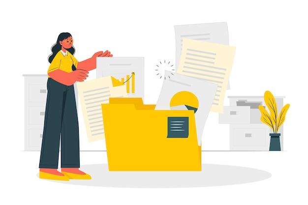 Illustrazione di concetto di documenti Vettore gratuito