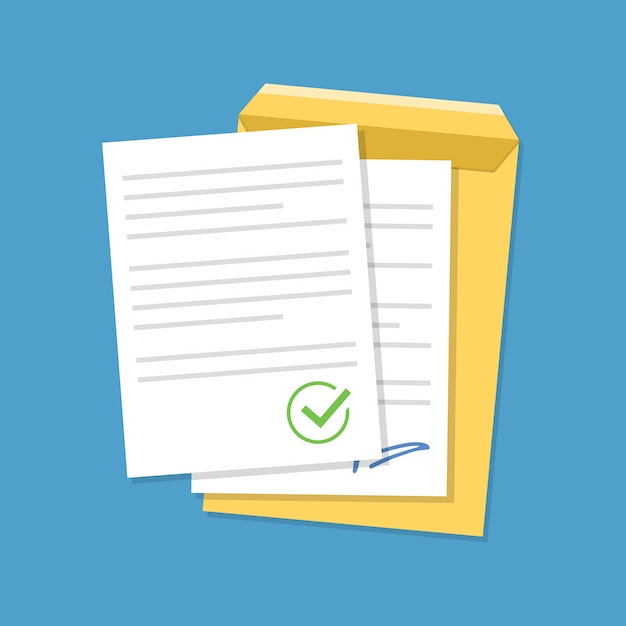 Documents confirmed or approved document. Premium Vector