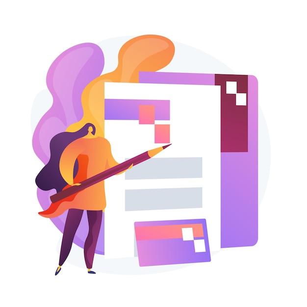 Riempimento documenti. impiegato, elemento dipendente aziendale. carta di credito, cartella, contratto. firma del contratto di lavoro. logo del marchio aziendale. Vettore gratuito