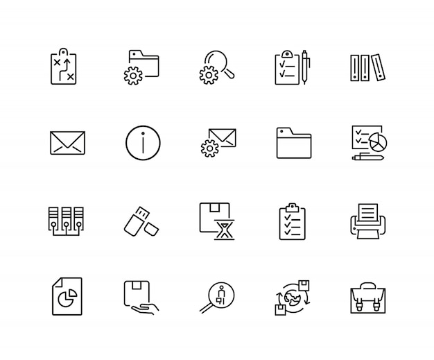 Documents icons. set of twenty line icons. information sign, folder, usb flash drive. Premium Vector