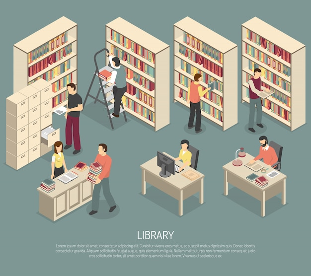 Documents library archive interior isometric illustration Free Vector