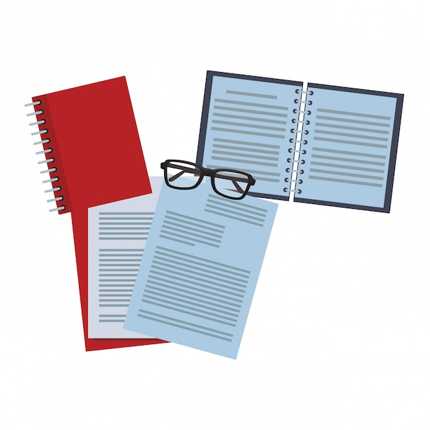 Documents and notebook with glasses Vector | Premium Download