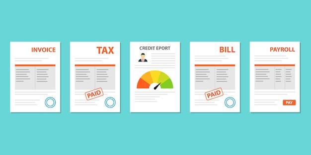 Documents tax, invoice, bill, payroll set flat style Premium Vector