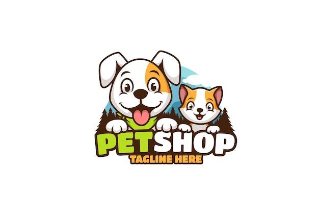 개와 고양이 애완 동물 가게 만화 로고 프리미엄 벡터