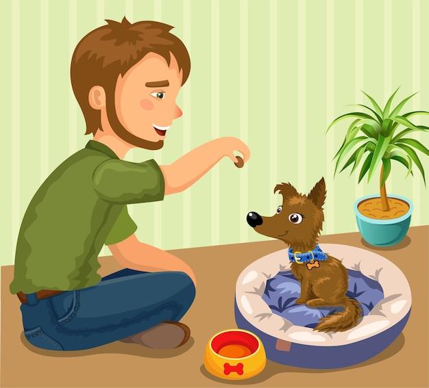 犬と飼い主。 Premiumベクター