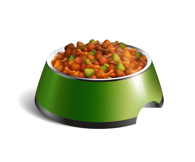 Dog bowl dry food composition Free Vector