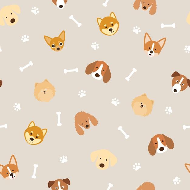 Dog breeds head seamless pattern background, footprint and bone Premium Vector