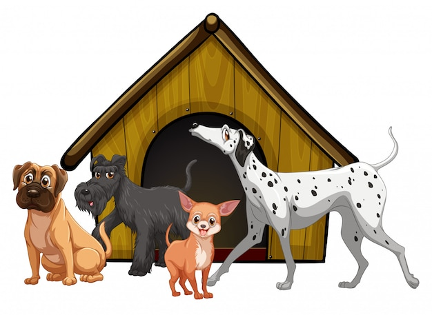 Dog cage with dog group cartoon isolated Free Vector