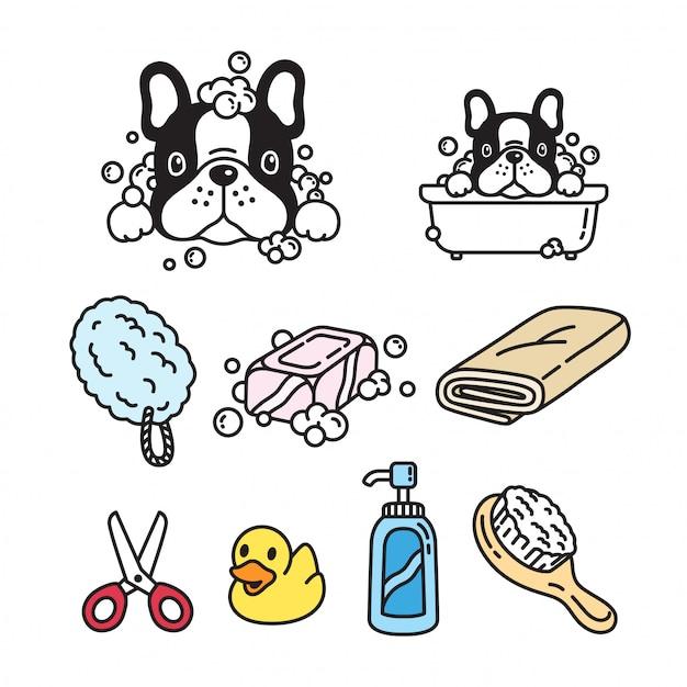 Dog cartoon french bulldog shower bath Premium Vector