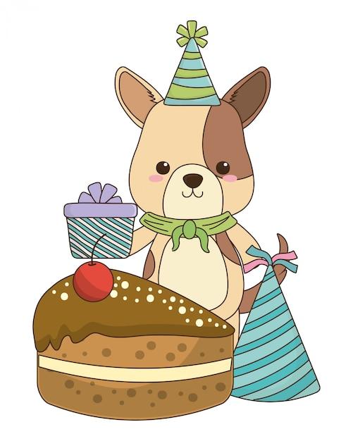 Dog Cartoon With Happy Birthday Icon Premium Vector