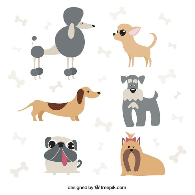 dog cartoons pack vector free download