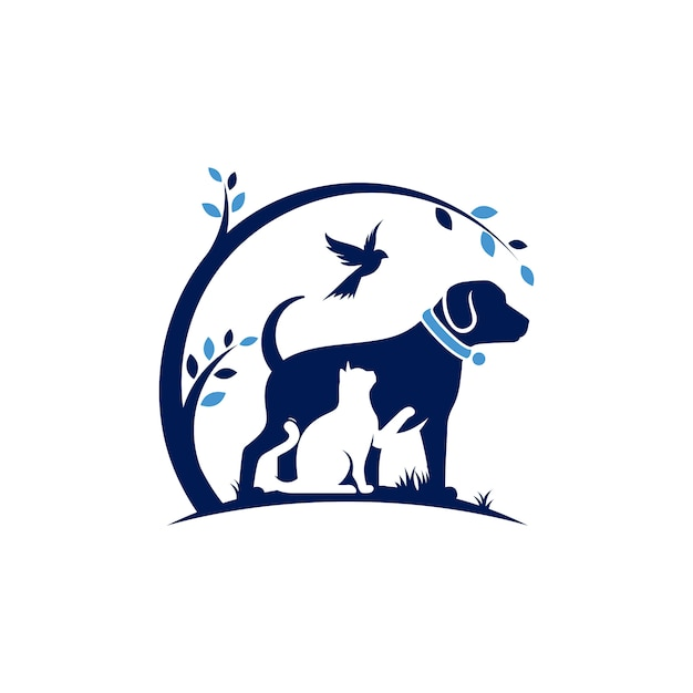 Dog cat  and bird logo template veterinary Premium Vector