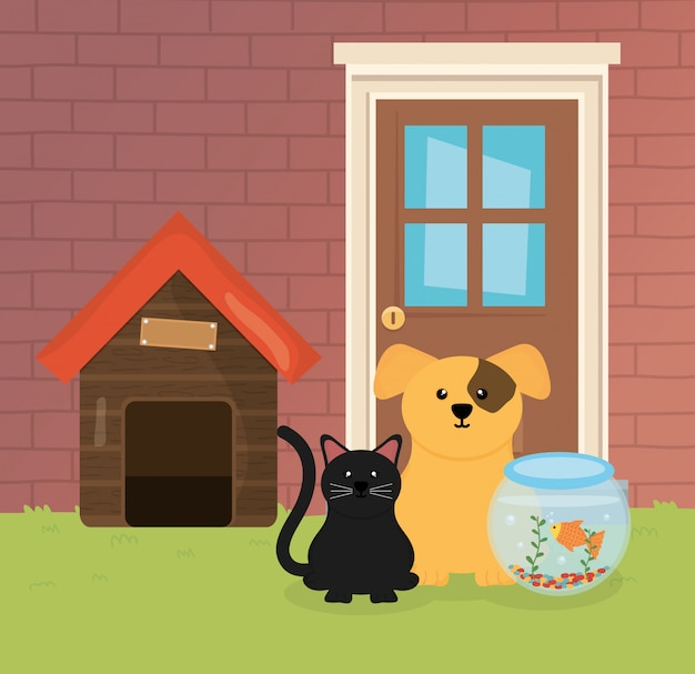 Dog cat and fish in bowl house garden pet care Premium Vector