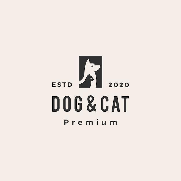 Собака кошка домашнее животное битник старинный логотип значок иллюстрации Premium векторы
