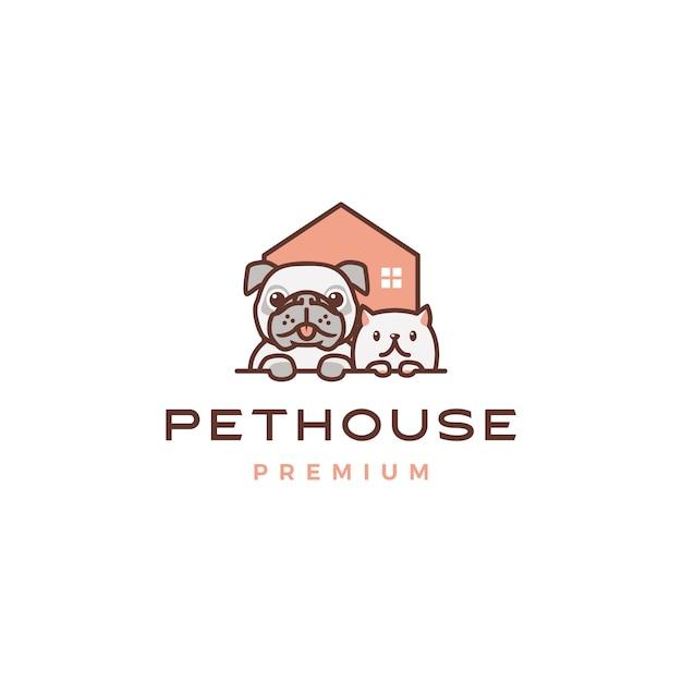 Dog cat pet house home logo Premium Vector