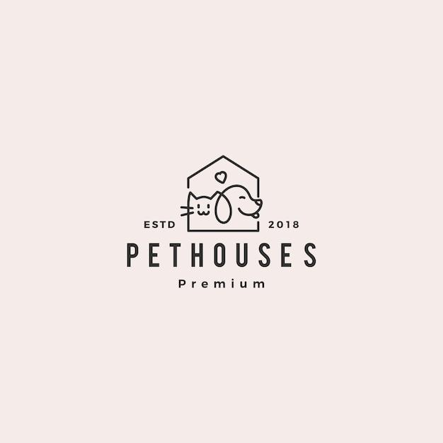 Dog cat pet house shop logo Premium Vector