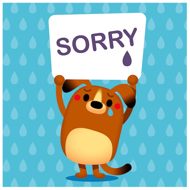 Dog character raising a sign with word 'sorry' Premium Vector