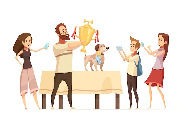 Dog composition with show victory cup and family cartoon vector illustration Free Vector