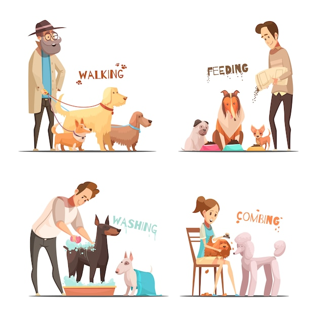 Dog concept icons set with walking and washing symbols cartoon isolated vector illustration Free Vector