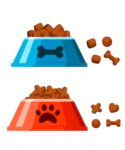 Миска с сухим кормом для собак. чипсы в форме косточки. красно-синяя миска с сухим кормом. иллюстрация на белом фоне. страница веб-сайта и мобильное приложение. Premium векторы