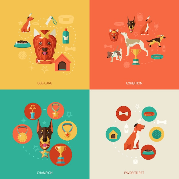 Dog elements composition flat Free Vector