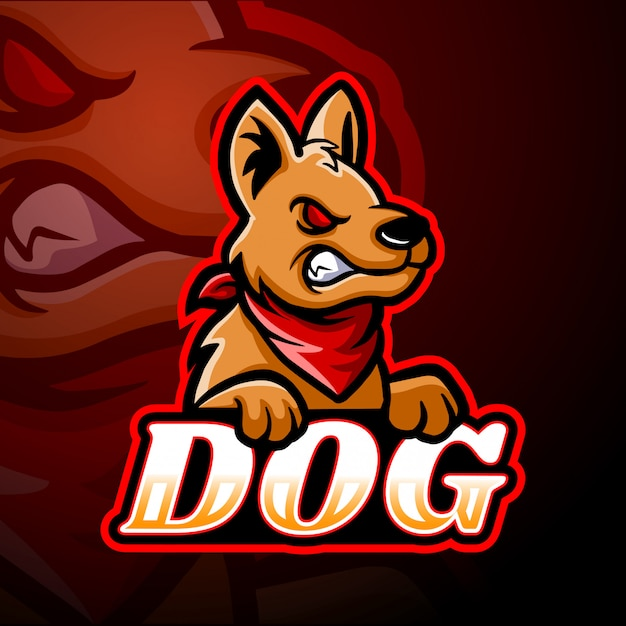Собака киберспорт логотип дизайн талисмана Premium векторы