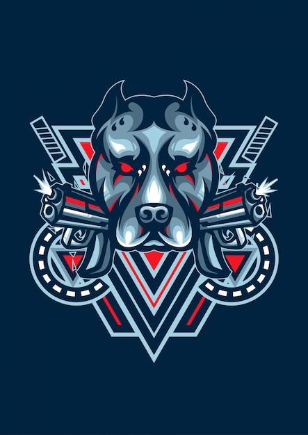 Dog esportロゴ Premiumベクター