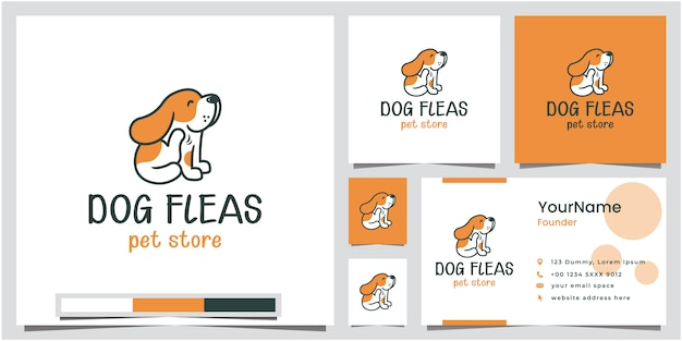 Dog fleas pet store logo design with business card Premium Vector