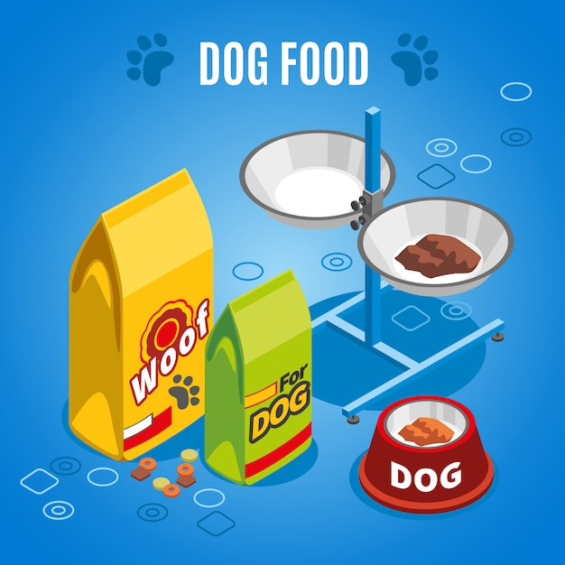 Dog food isometric composition Free Vector