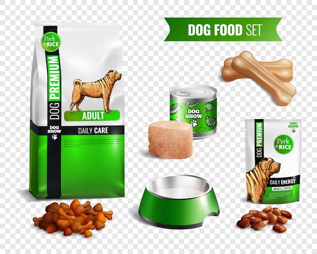 Dog food transparent icon set Free Vector