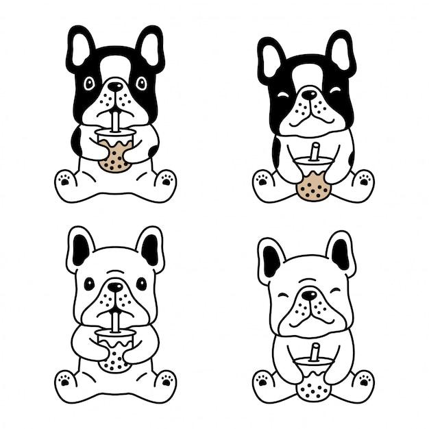 Собака французский бульдог боба чай с молоком мультфильм Premium векторы