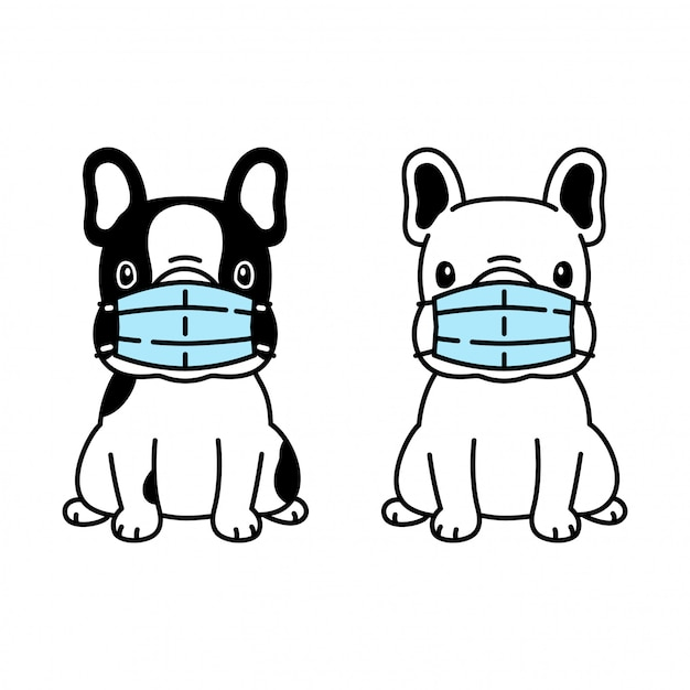 Dog French Bulldog Face Mask Covid 19 Coronavirus Cartoon Icon