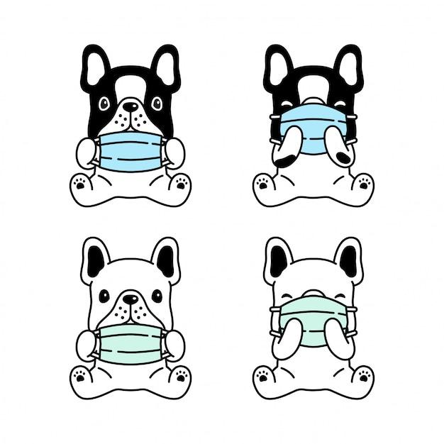 Dog French Bulldog Face Mask Covid 19 Coronavirus Cartoon
