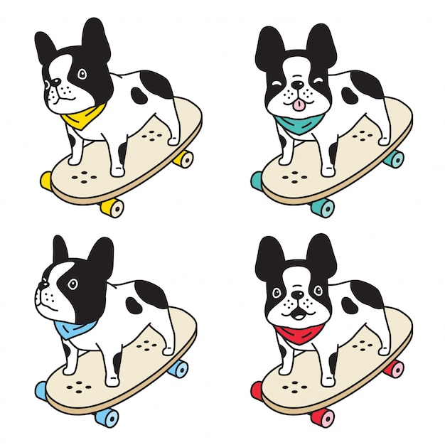 Vector Cartoon Character Cute Boston Terrier Stock-Vektorgrafik  (Lizenzfrei) 1208446021