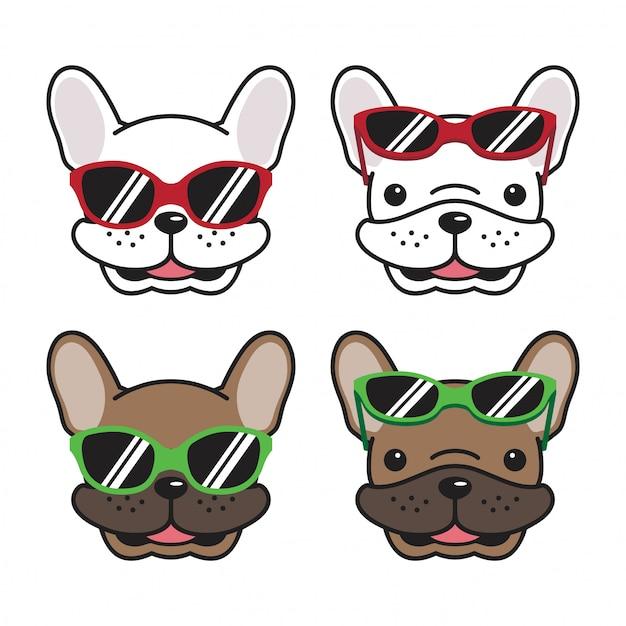Dog french bulldog sunglasses cartoon Premium Vector