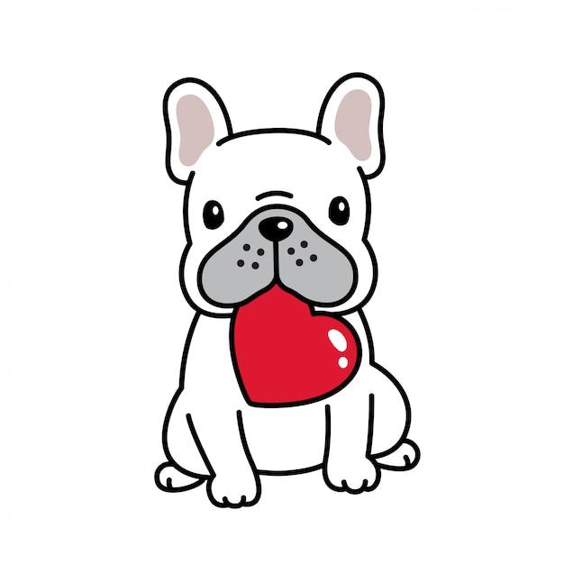 Dog french bulldog valentine heart cartoon Premium Vector