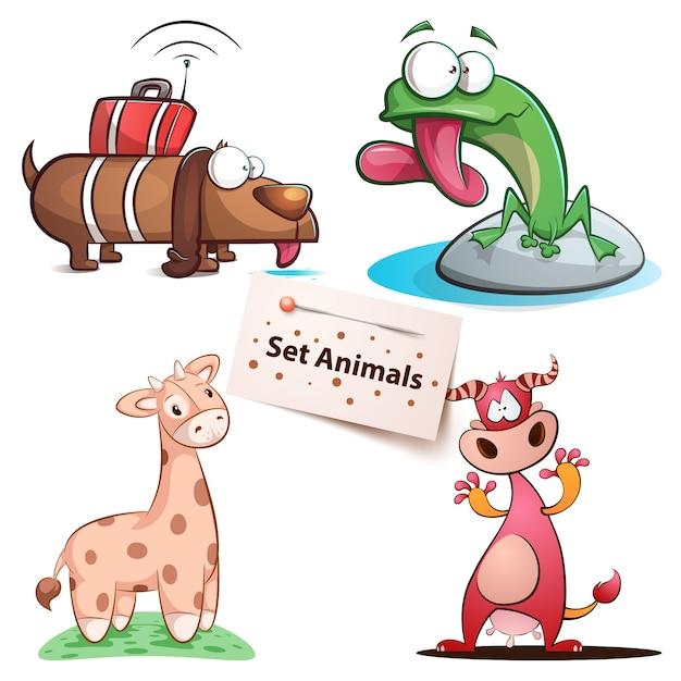 Dog, frog, giraffe cow - set animals Premium Vector