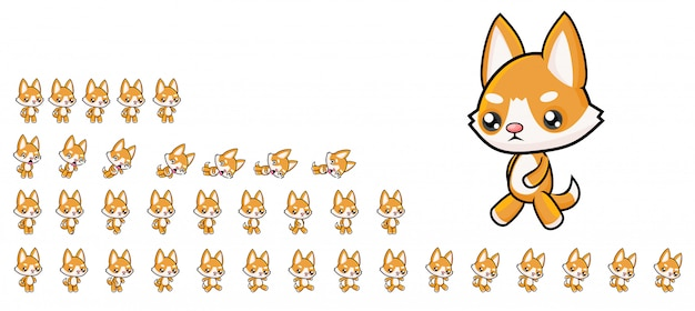 Dog game sprites Premium Vector