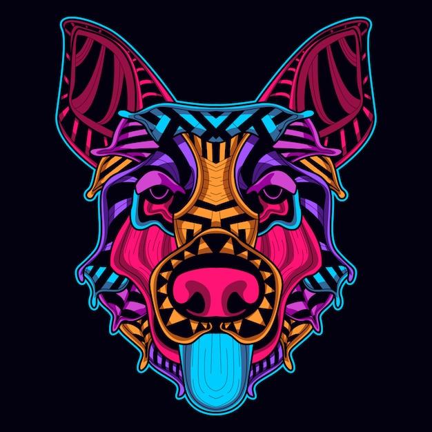Dog head in neon style Premium Vector