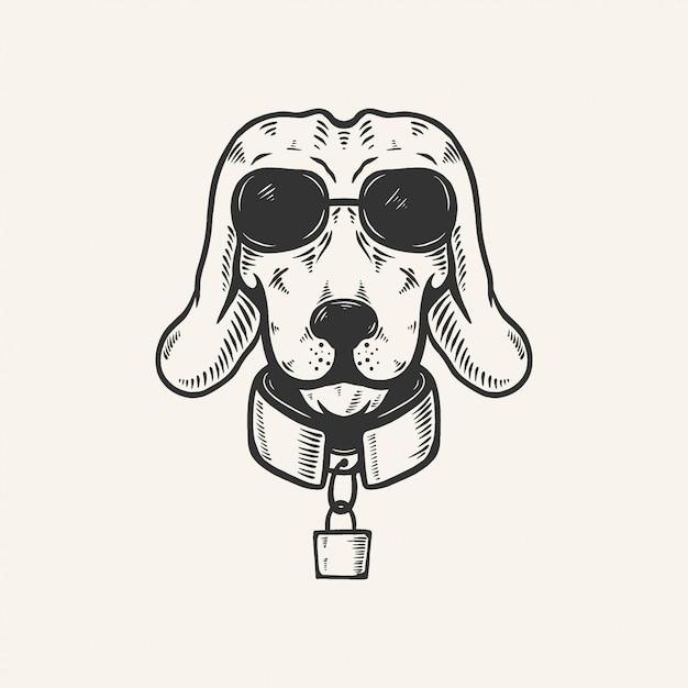 Dog head with sun glasses vintage retro illustration Premium Vector